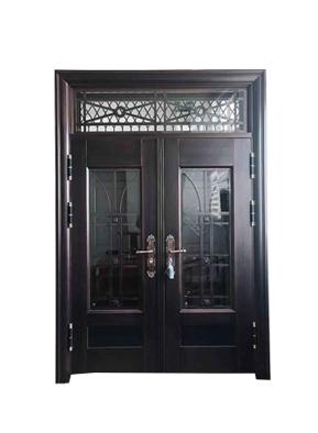 9公分锌合金玻璃门 厂家直供别墅门仿铜门防盗门
